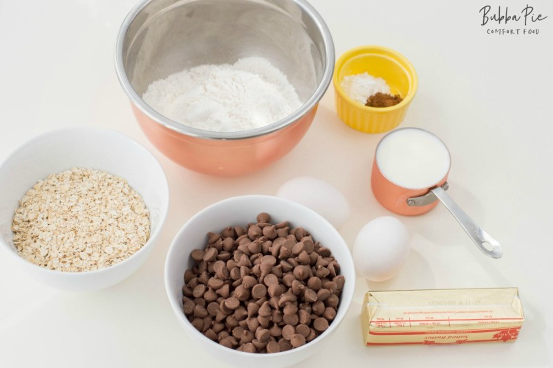 Chocolate Chip Muffins ingredients include eggs cinnamon, oats and butter