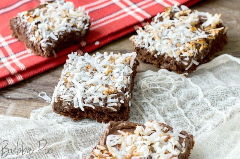 Coconut Brownies have rich chocolate and smooth sweet coconut