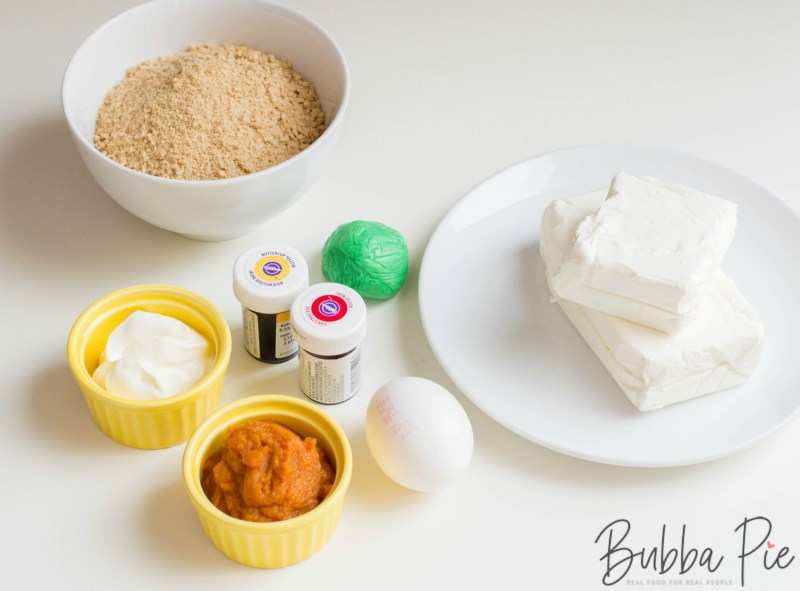 Pumpkin Cheesecake Bites ingredients include eggs, cream cheese, sugar, graham crackers and butter.