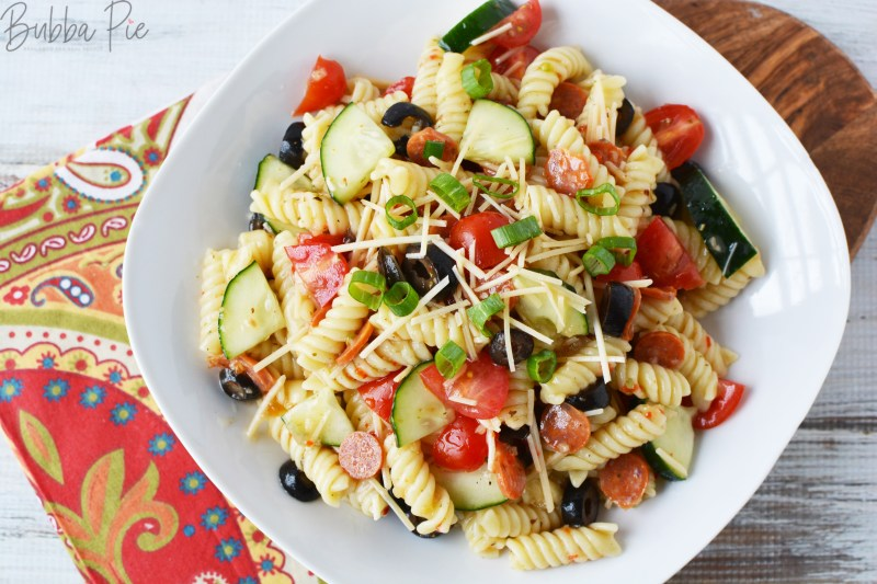 Rotini Pasta Salad is a great cold salad recipe that goes with just about any meal.