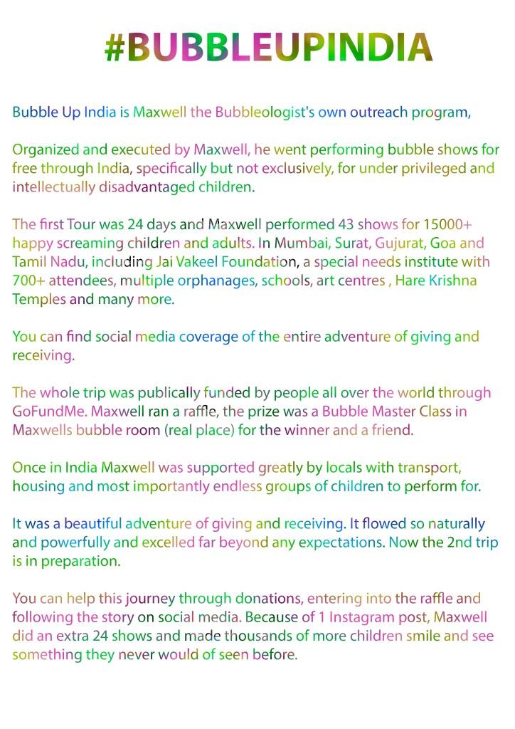 Bubble Man BUBBLEUPINDIA-WRITE-UP OUTREACH PROGRAM