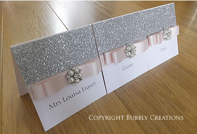 Glitter Bow Wedding Stationery Order in Silver and Blush