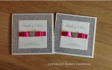 Silver Glitter Wedding Invitation in fuchsia pink