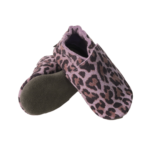 animal print mauve grey baby leather shoes sole