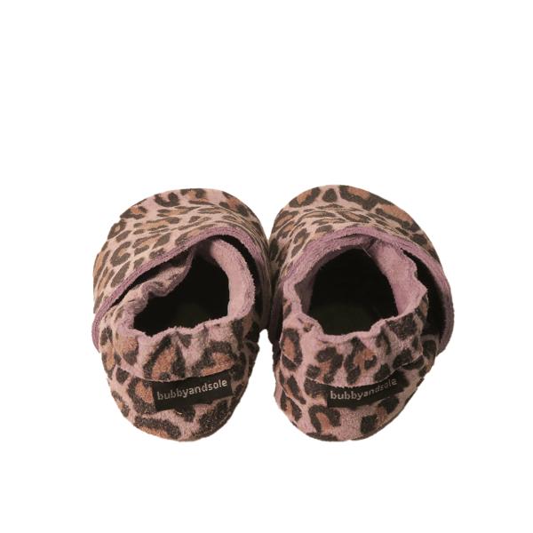 animal print mauve grey baby leather shoes back