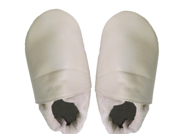 cream plain baby leather shoes