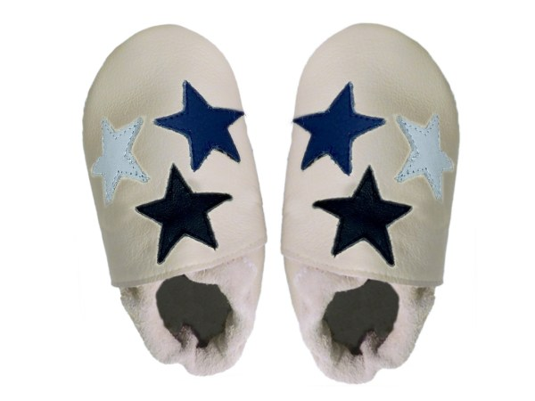 cream blue stars baby leather shoes
