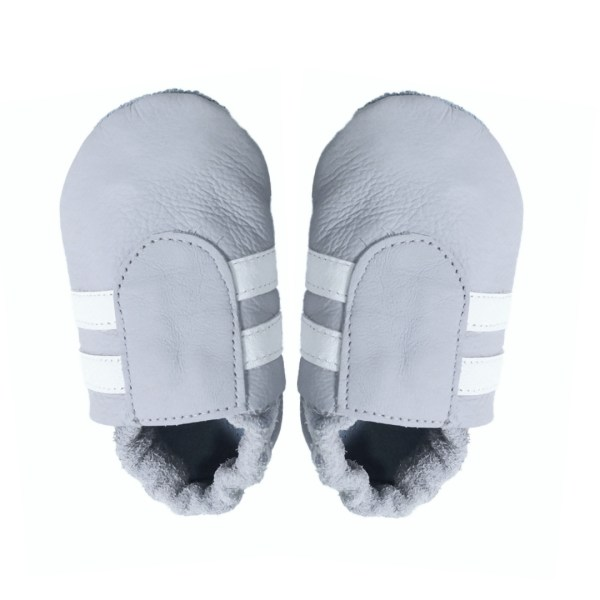 grey white sport baby leather shoes