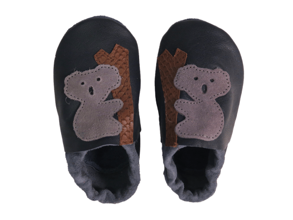 Navy koala baby leather shoes
