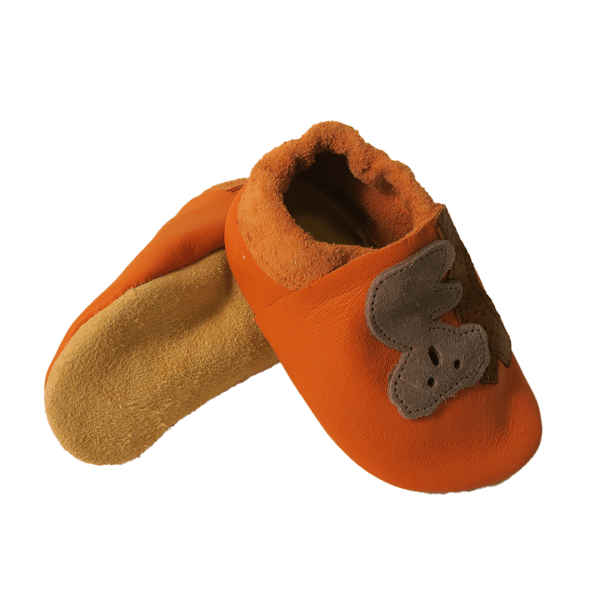 Orange koala baby leather shoes