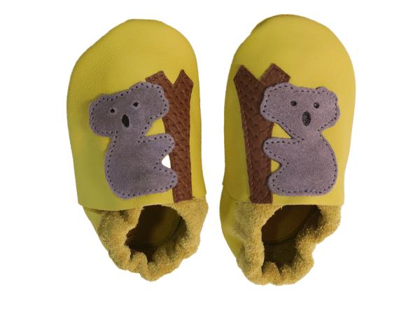 Yellow koala baby leather shoes