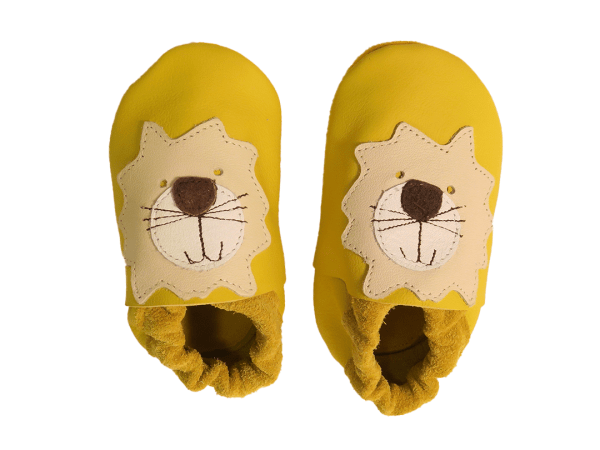Yellow lion baby leather shoes