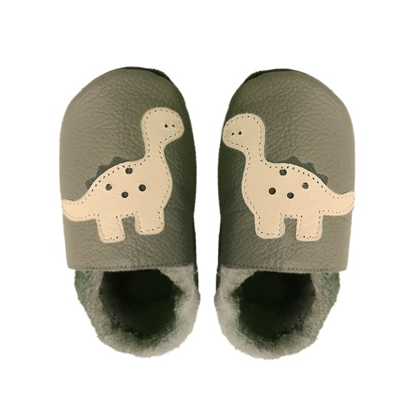 Taupe dino baby leather shoes