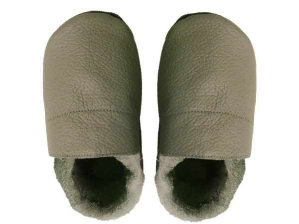 Taupe plain baby leather shoes
