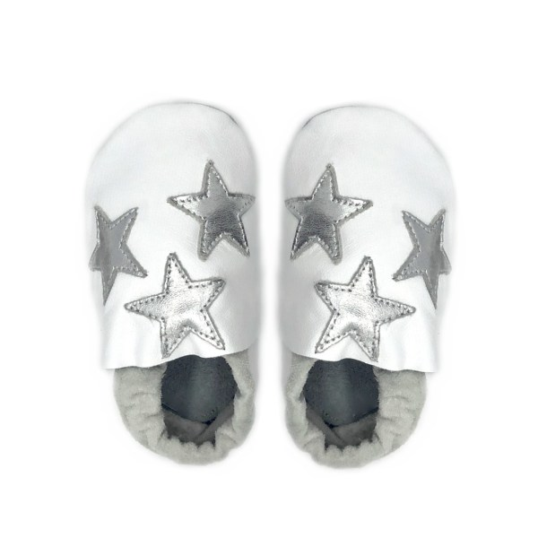 White silver stars baby leather shoes