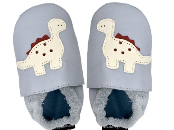 grey Dino baby leather shoes