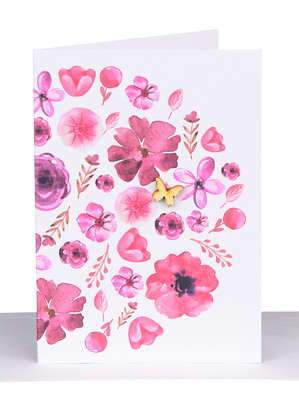 red pink flowers card