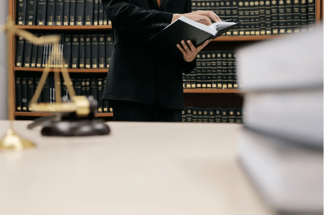 A lawyer is looking for particular laws from a law book