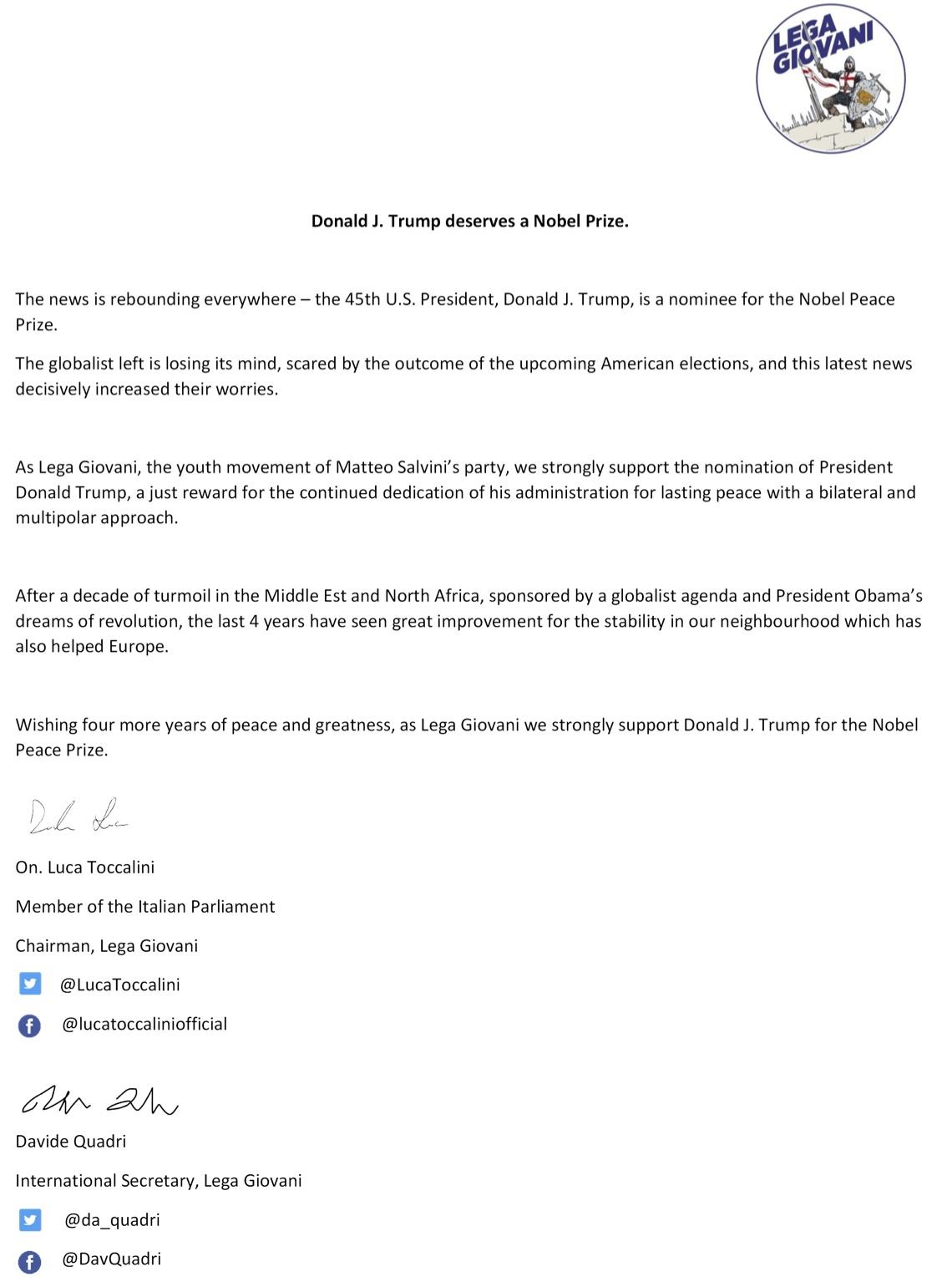 Lega Giovani Endorse President Trump for Nobel Peace Prize