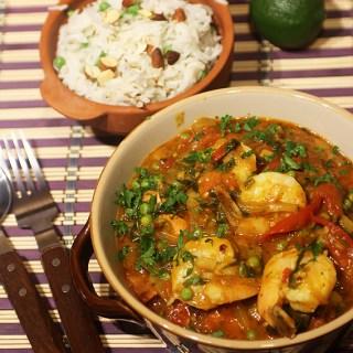 Curry cu rosii si creveti, rapid, aromat, sanatos.