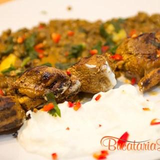 Kebab de miel marinat si linte cu dovleac.