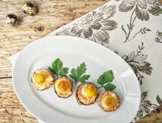 ciuperci umplute cu banza si oua de prepelita