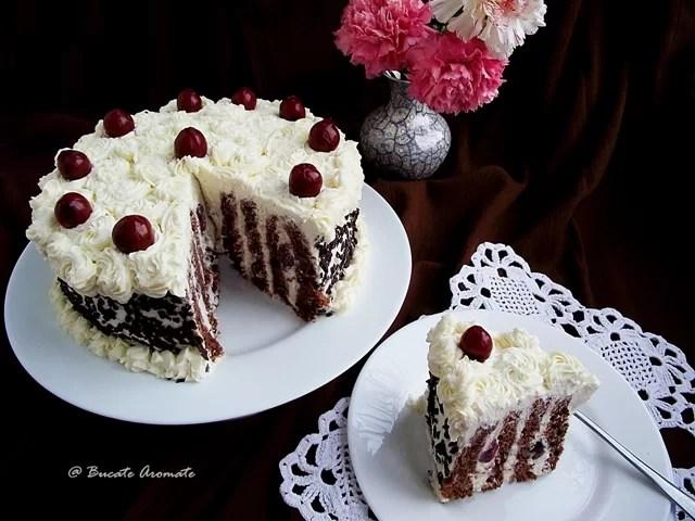 Tort spirala cu crema de mascarpone si visine