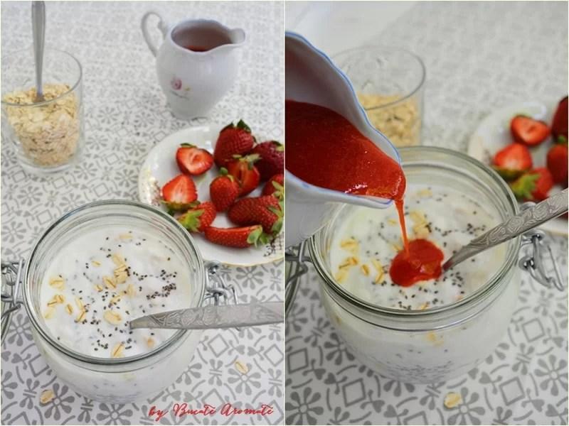 Mic dejun rapid cu iaurt, chia si capsuni