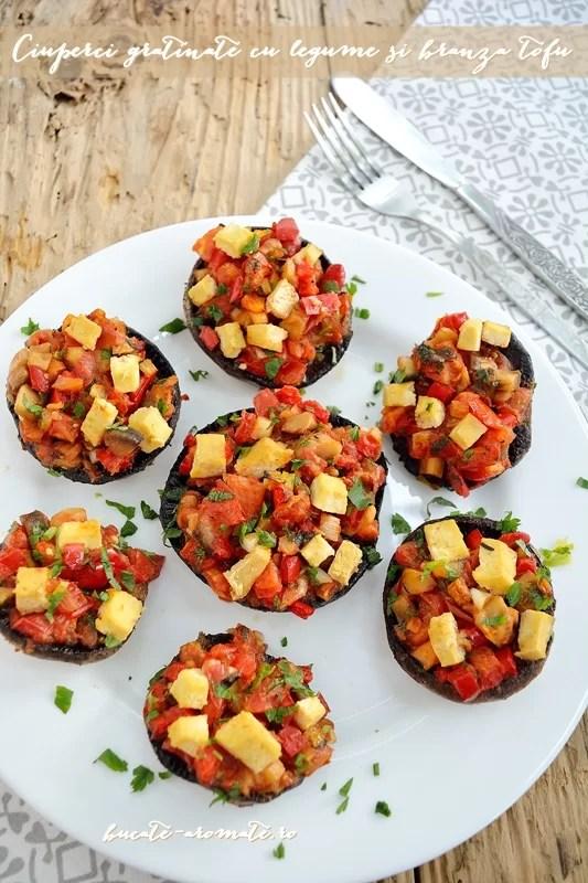 Ciuperci gratinate cu legume şi brânză tofu