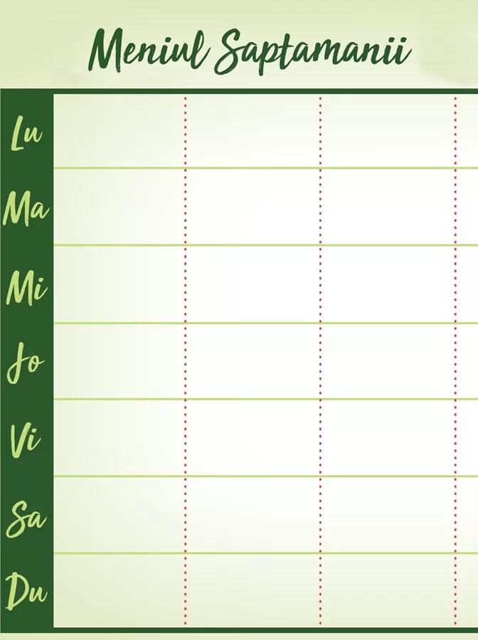 Economie în bucătărie – planificarea meniului săptămânal