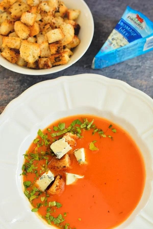Supă cremă de ardei copți. Cu sau fără brânză cu mucegai
