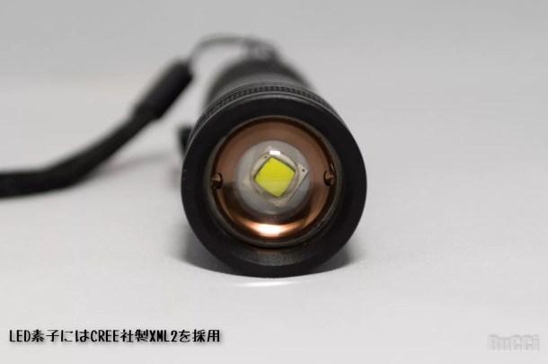 レンズ越しに LED 素子
