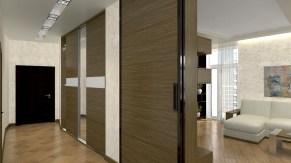 Дизайн трехкомнатной квартиры, г. Киев Коридор, раздвижная дверь. Разработка дизайн проекта.