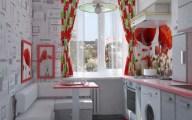 Дизайн маленькой кухни с красными маками. 02