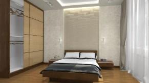 Дизайн спальни в современном стиле в трехкомнатной квартире в Киеве.