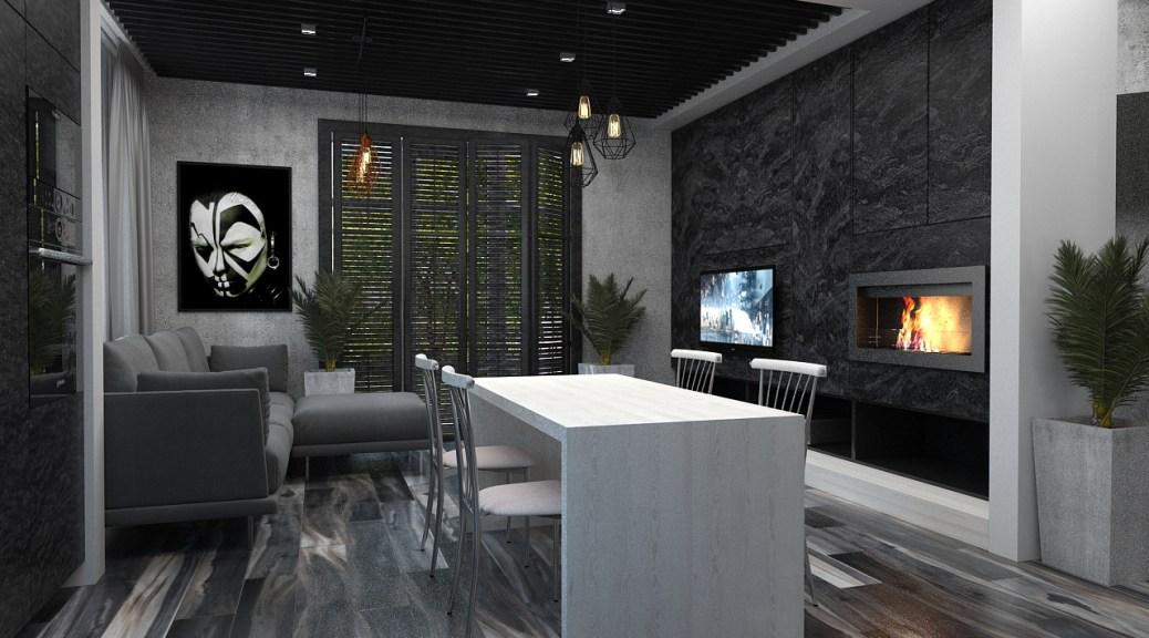 Дизайн интерьера частного дома г. Буча. Тёмный лофт.
