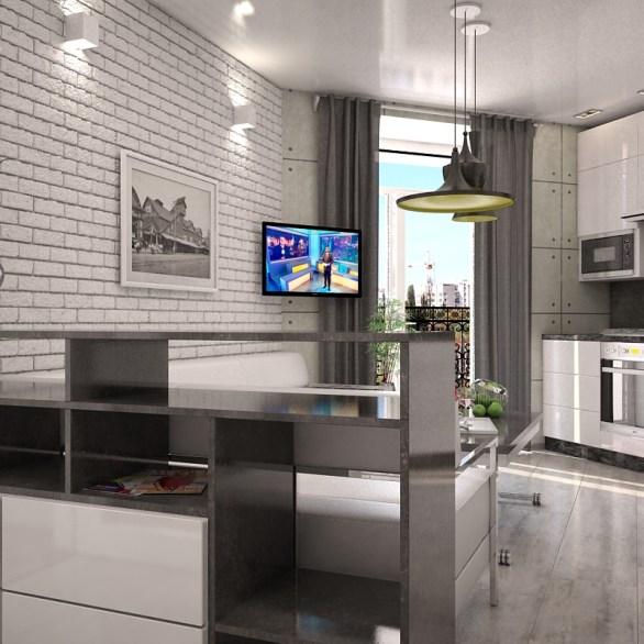 Дизайн интерьера однокомнатной квартиры г. Буча