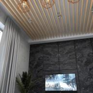 Дизайн интерьера г. Буча Стиль лофт. Реечный потолок.