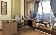 """Дизайн кабинета в японском стиле. Рабочий стол. Киев. Квартира в ЖК """"Заречный"""""""