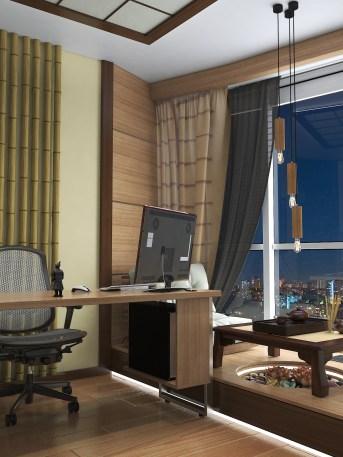 """Дизайн кабинета в японском стиле. Вечернее освещение. Киев. ЖК """"Заречный"""""""