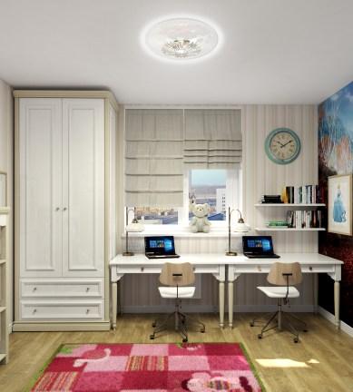 Дизайн спальни для двух девочек в классическом стиле