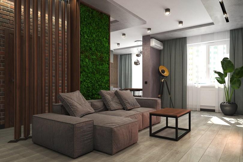 Дизайн интерьера в стиле LOFT. Диван фабрики Interia, модель Pearl