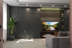 Дизайн гостиной в стиле LOFT с потайной дверью