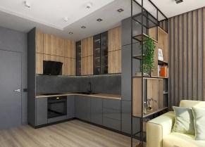 Дизайн кухни. Рабочая зона. Этажерка в стиле loft.