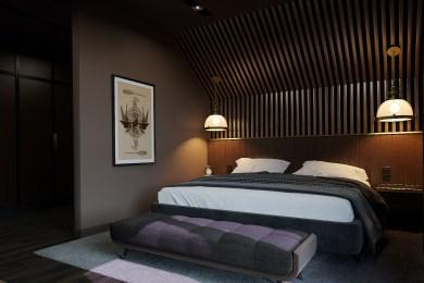 Интерьер спальни SteamPunk, ночное освещение.