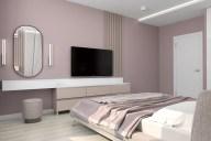 Зона туалетного столика и телевизора в дизайне спальни.