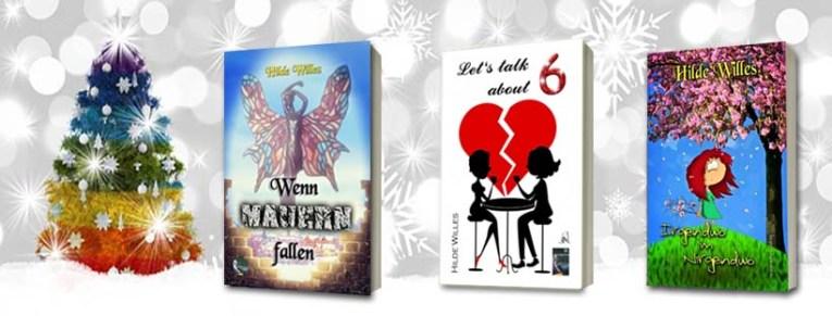 """Ein bunter Weihnachtsbaum, daneben die Buchcover. Auf """"Wenn Mauern Fallen"""" ein Schmetterlingsmensch auf einer halb zerbrochenen Mauer, """"Let's talk about 6"""" zeigt die Siluette eines Paares, dahinter ein zerbrochenes Herz, auf """"Irgendwo im Nirgendwo"""" ist eine gezeichnete Frau unter einem Kirschbaum zu sehen."""