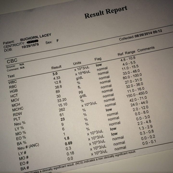 Round 6 pre-chemo lab results.