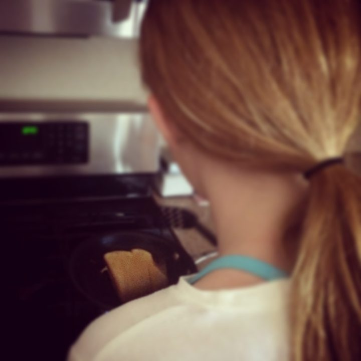"""September 6 :: p365 :: year 34 day 313 :: My sweet, sweet girl making me one of her """"perfect grilled cheese"""" sandwiches for lunch."""