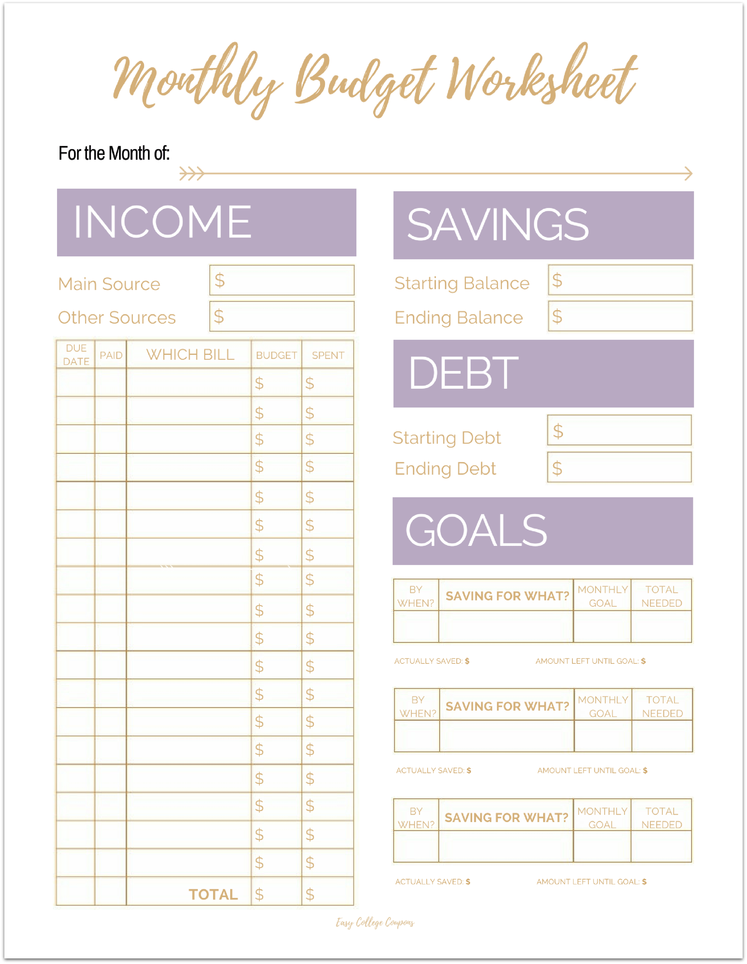 budget sheets for college students